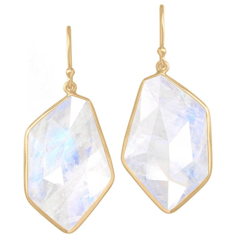 Kothari One of a Kind Geometric Faceted Moonstone Dangle Drop Earrings For Sale