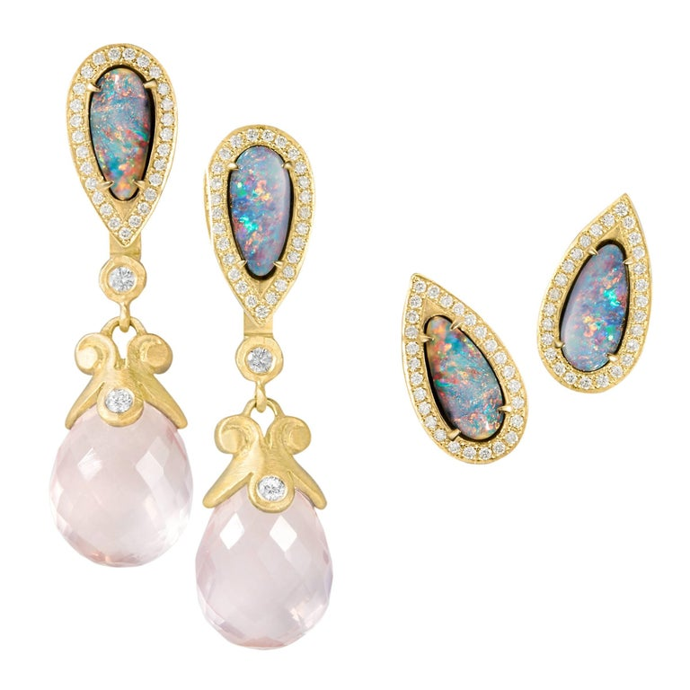 Pamela Froman Boulder Opal White Diamond Detachable Rose Quartz Drop Earrings