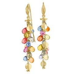 Barbara Heinrich Vibrant Multicolored Sapphire Briolette Wing Drop Earrings