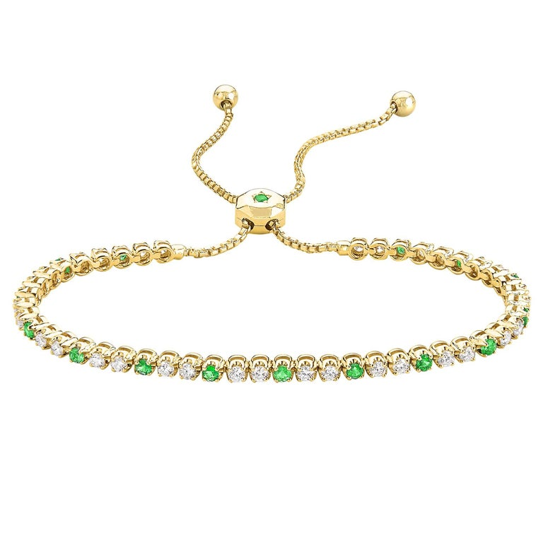 Fern Freeman One of a Kind Emerald and Diamond Gold Box Chain Bolo Bracelet For Sale