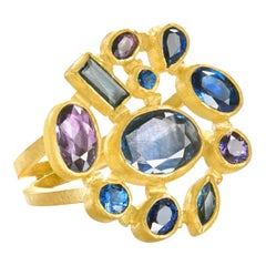 Petra Class One of a Kind Blue and Violet Sapphire Multicut Cluster Ring
