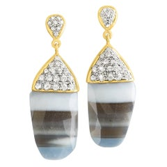 Lauren Harper One of a Kind Striped African Opal White Sapphire Gold Earrings