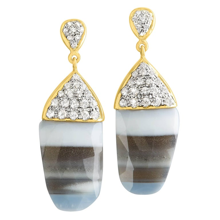 Lauren Harper One of a Kind Striped African Opal White Sapphire Gold Earrings For Sale