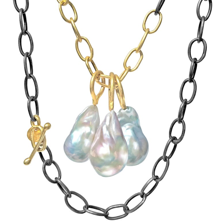Stephanie Albertson Vivid Baroque Pearl Long Oxidized Silver Gold Links Necklace