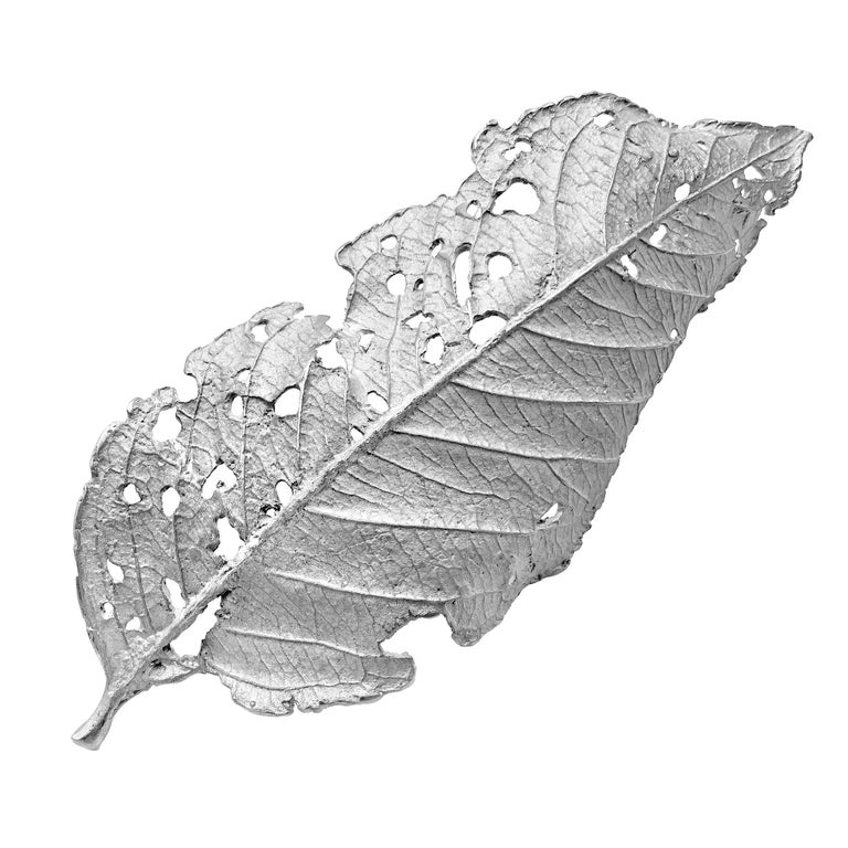 John Iversen One of a Kind Rhodium Sterling Silver Leaf Pin For Sale