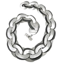 John Iversen One of a Kind Hammered Silver Double Link Chain Necklace