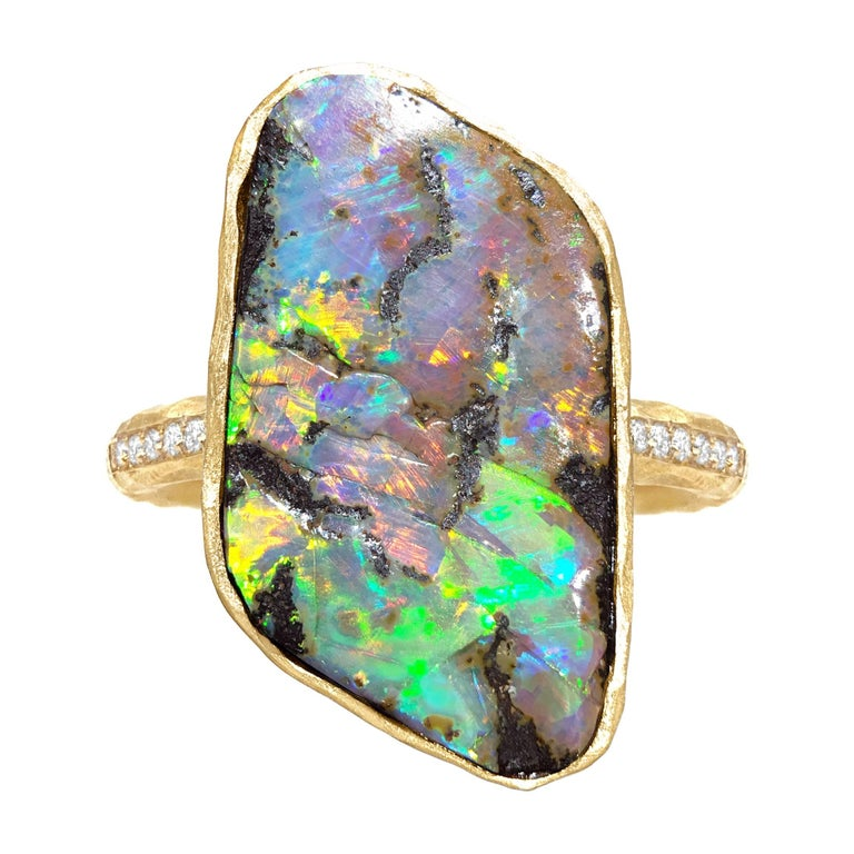 Pamela Froman One of a Kind Fiery Boulder Opal White Diamond Gold Crush Ring