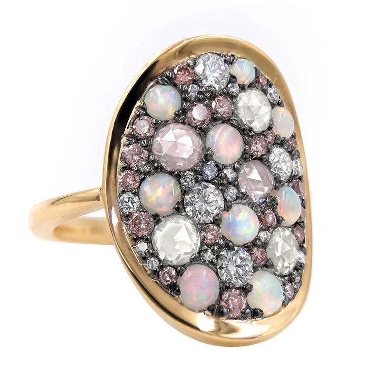 Joke Quick Natural Pink, Blue, and White Diamond Australian Opal Starstruck Ring