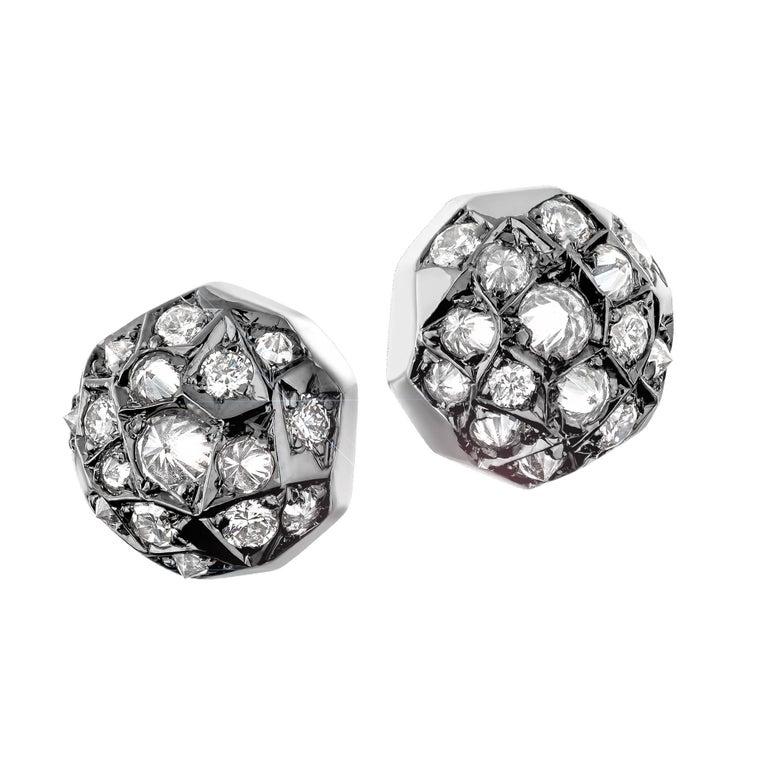 Joke Quick Inverted White Diamond Gold Innervisions Stud Earrings