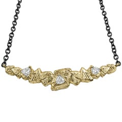 Sarah Graham Trillion White Diamond Gold Trigon Bar Necklace