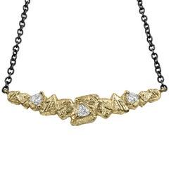 Sarah Graham Trillion White Diamond Gold Trigon Bar Necklace