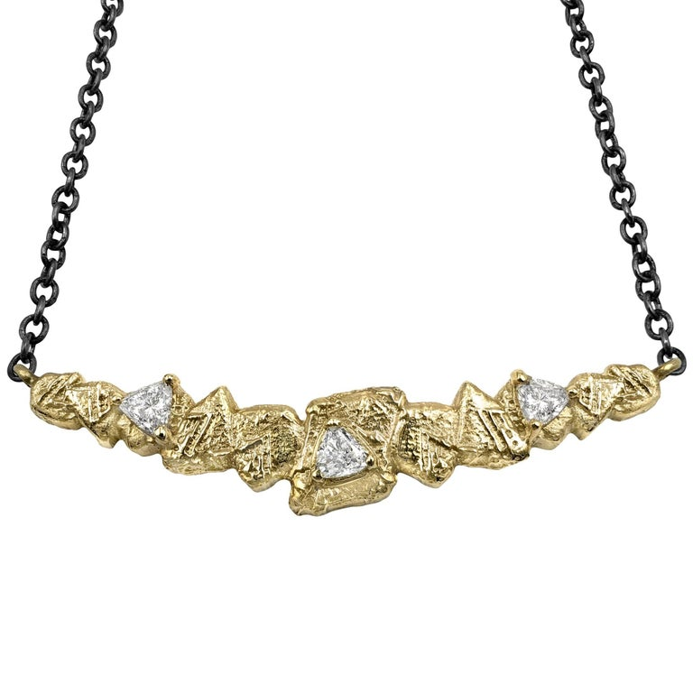 Sarah Graham Trillion White Diamond Gold Trigon Bar Necklace For Sale