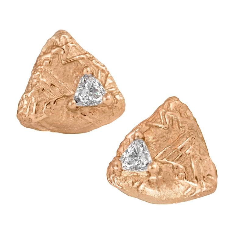 Sarah Graham Trillion-Cut White Diamond Rose Gold Trigon Stud Earrings