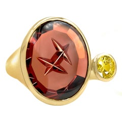 Atelier Munsteiner Spessartine Garnet and Yellow Sapphire One of a Kind Ring