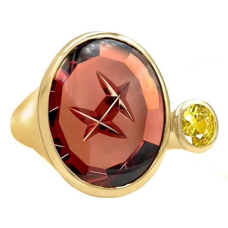 Atelier Munsteiner Spessartine Garnet and Yellow Sapphire One of a Kind Ring