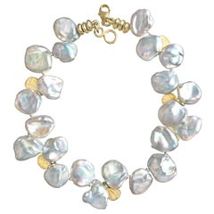 Barbara Heinrich Silver Blue Keshi Pearl Gold Petals One of a Kind Bracelet