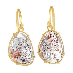 Monica Marcella Faceted Strawberry Quartz Gold Cage Dangle Drop Earrings