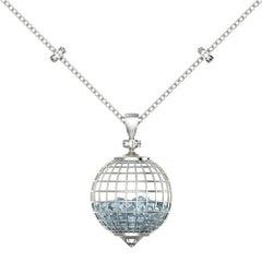 Roule and Co. Aquamarine White Diamond Sapphire Long Gold Shaker Globe Necklace