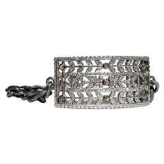 Floral Vintage White Champagne Diamond Rectangular Cut Out Double Wrap Bracelet