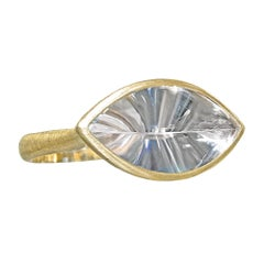 Antonio Bernardo Horizontal Prism-Cut Rock Crystal Quartz Shine Handmade Ring