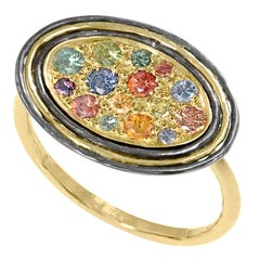 Kothari Pastel Rainbow Sapphire Gold Oxidized Silver Oval Cocktail Ring