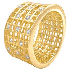 Roule and Co. White Diamond Yellow Gold Five-Row Open Pixel Dust Band Ring