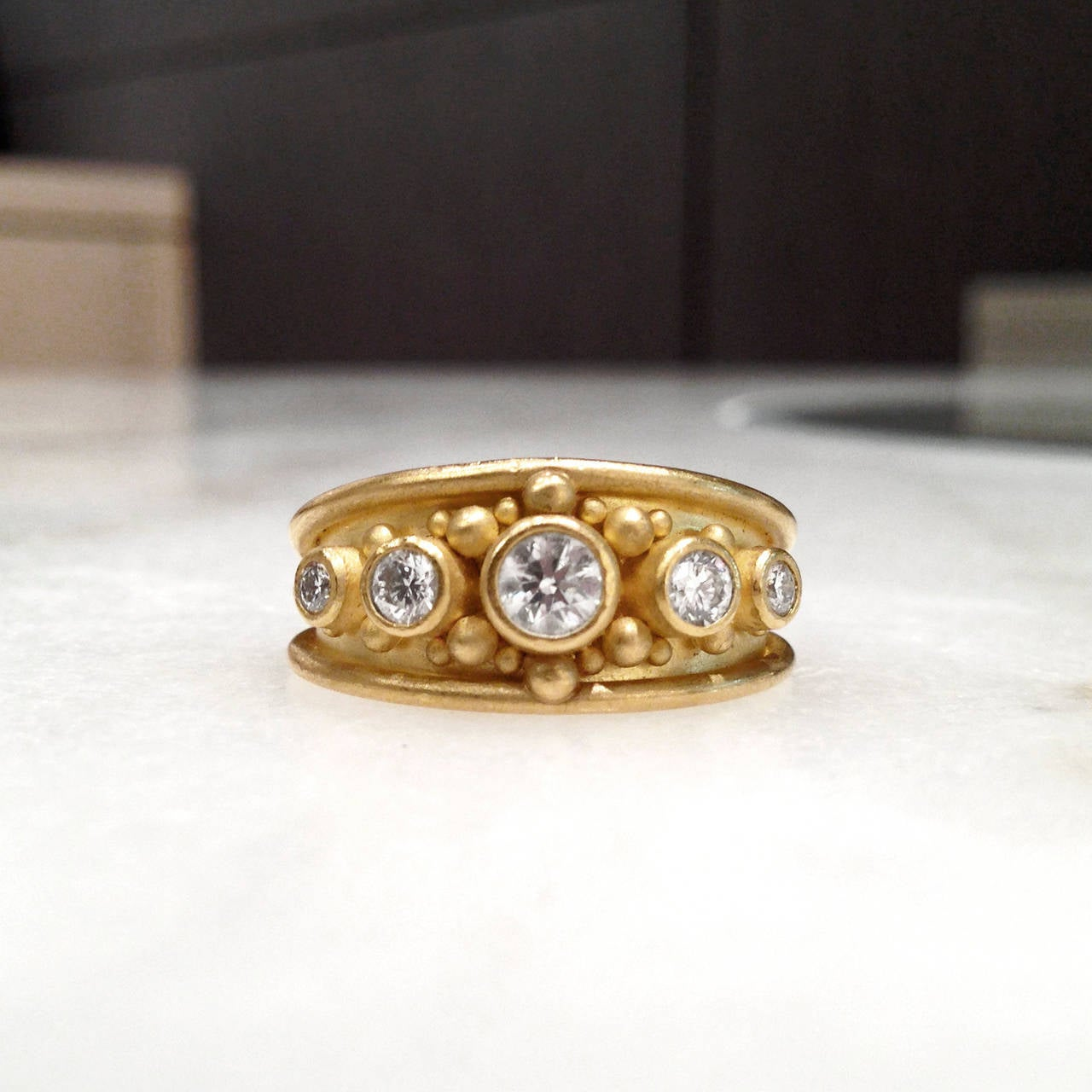 gold granulation cigar band ring at 1stdibs