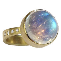 Robin Waynee Blue Moonstone White Diamond Gold Button Ring