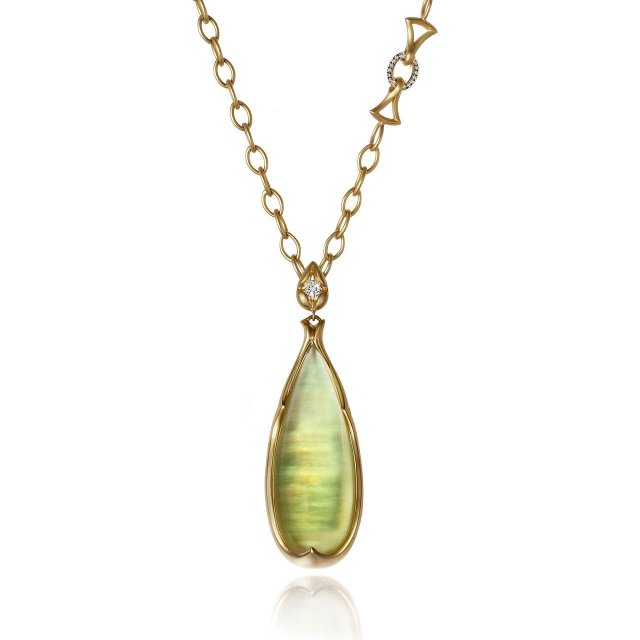 One of a Kind Phenom Pendant handcrafted in 18k yellow gold with two cabochon-cut lemon citrine drops laid over mother-of-pearl and attached to a 0.25 carat round, brilliant-cut diamond bail. The pendant is 2 inches in length and has incredible