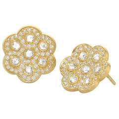 Kothari Diamond Rose-Cut and Brilliant-Cut Gold Honeycomb Stud Earrings