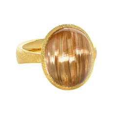 Cat's Eye Rutilated Quartz Gold Ring
