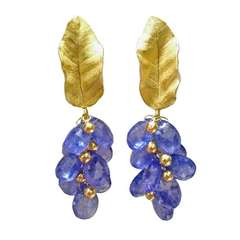 Barbara Heinrich Tanzanite Briolette Gold Cluster Dangle Earrings