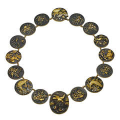 Antique Shakudo Elements Necklace
