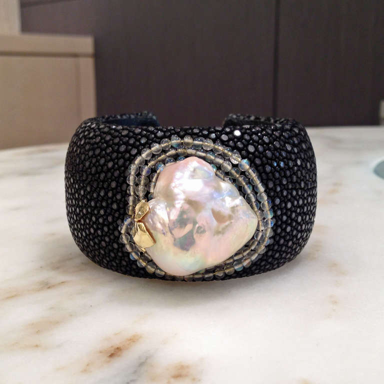 Russell Trusso Black Shagreen Baroque Pearl Moonstone Gold Cuff Bracelet In As New Condition For Sale In Dallas, TX
