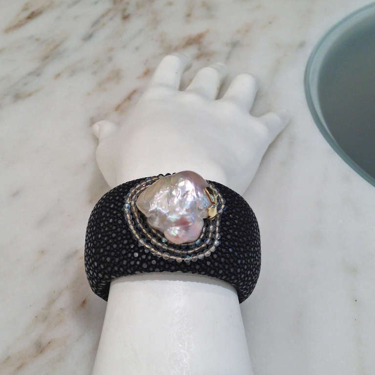 Women's Russell Trusso Black Shagreen Baroque Pearl Moonstone Gold Cuff Bracelet For Sale