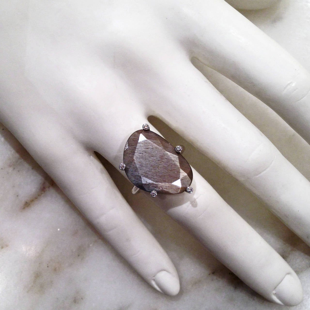 Erich Zimmermann Custom Faceted Gray Moonstone Diamond Gold Snowflake Ring For Sale 1