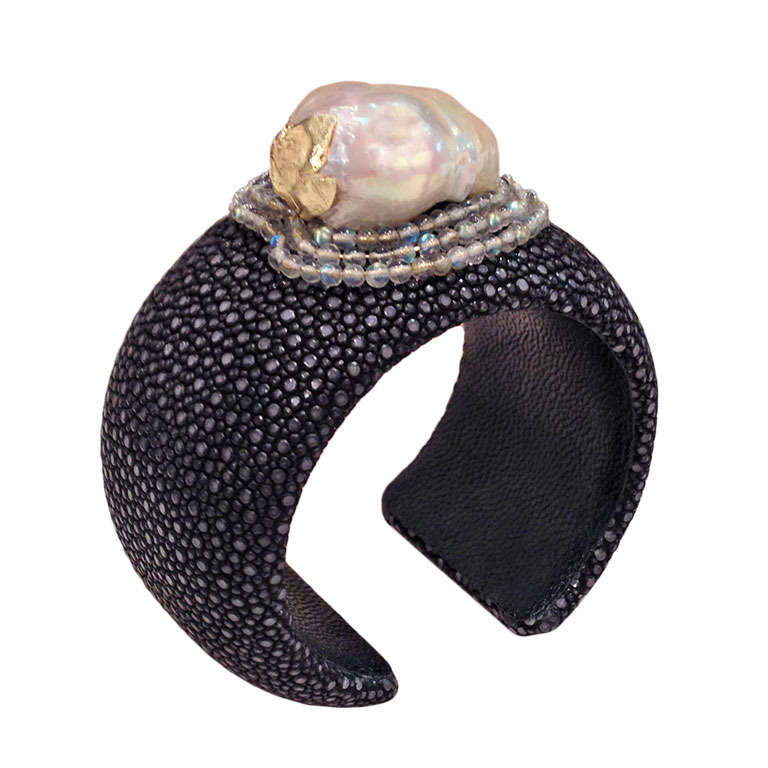 Russell Trusso Black Shagreen Baroque Pearl Moonstone Gold Cuff Bracelet For Sale