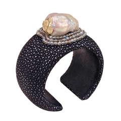 Russell Trusso Black Shagreen Baroque Pearl Moonstone Gold Cuff Bracelet