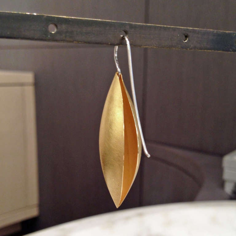 Erich Zimmermann Cocoon Pod Gold and Platinum Earrings 2
