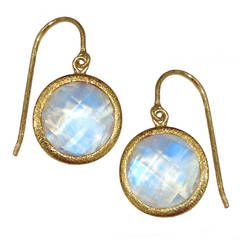 One of a Kind Devta Doolan Checker-Cut Blue Moonstone Gold Dangle Earrings