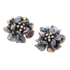 Black Pearl Blue Sapphire Diamond Gold Flower Petal Earrings