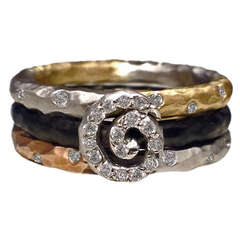 Pave Scroll Diamond Gold Stacking Rings