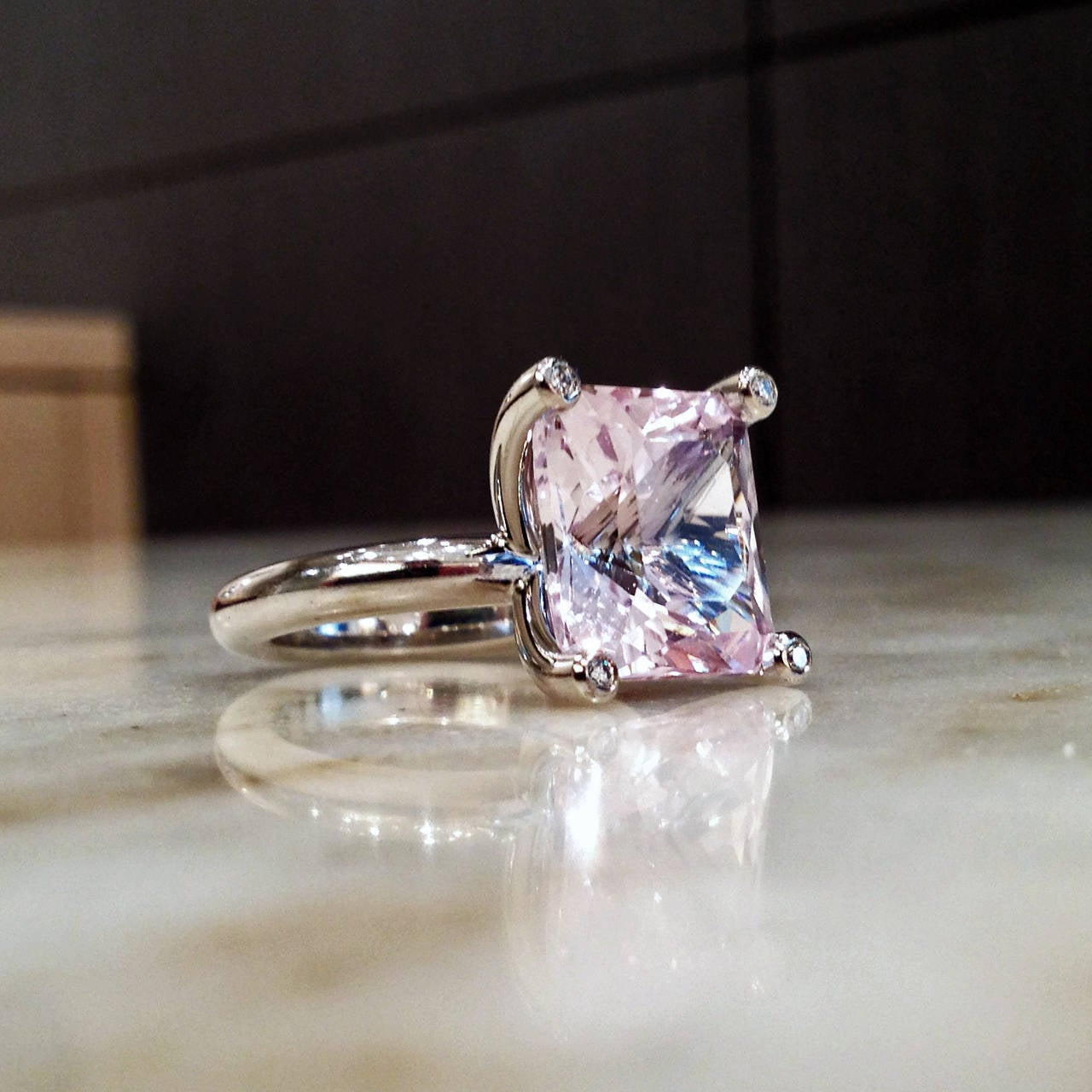 Erich Zimmermann One of a Kind Pale Pink Kunzite Diamond Gold Princess Ring 2