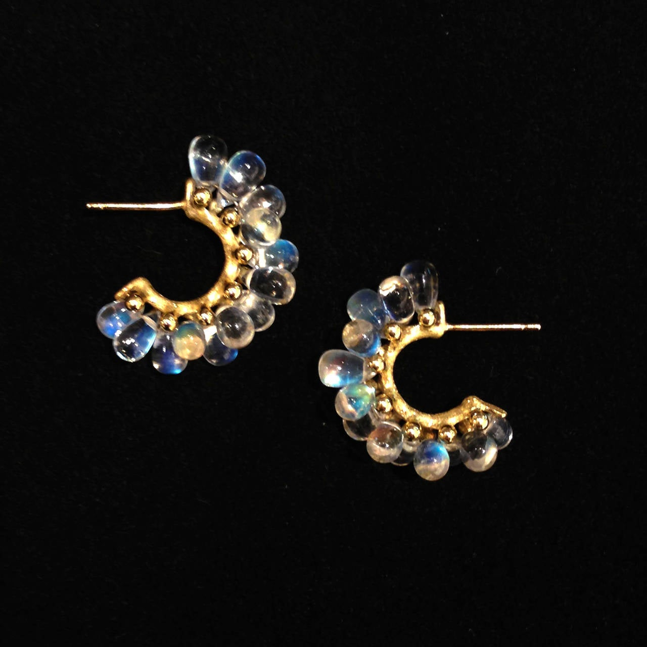 Artist Joseph Murray Blue Moonstone Smooth Briolette Satin Gold Cluster Hoop Earrings For Sale