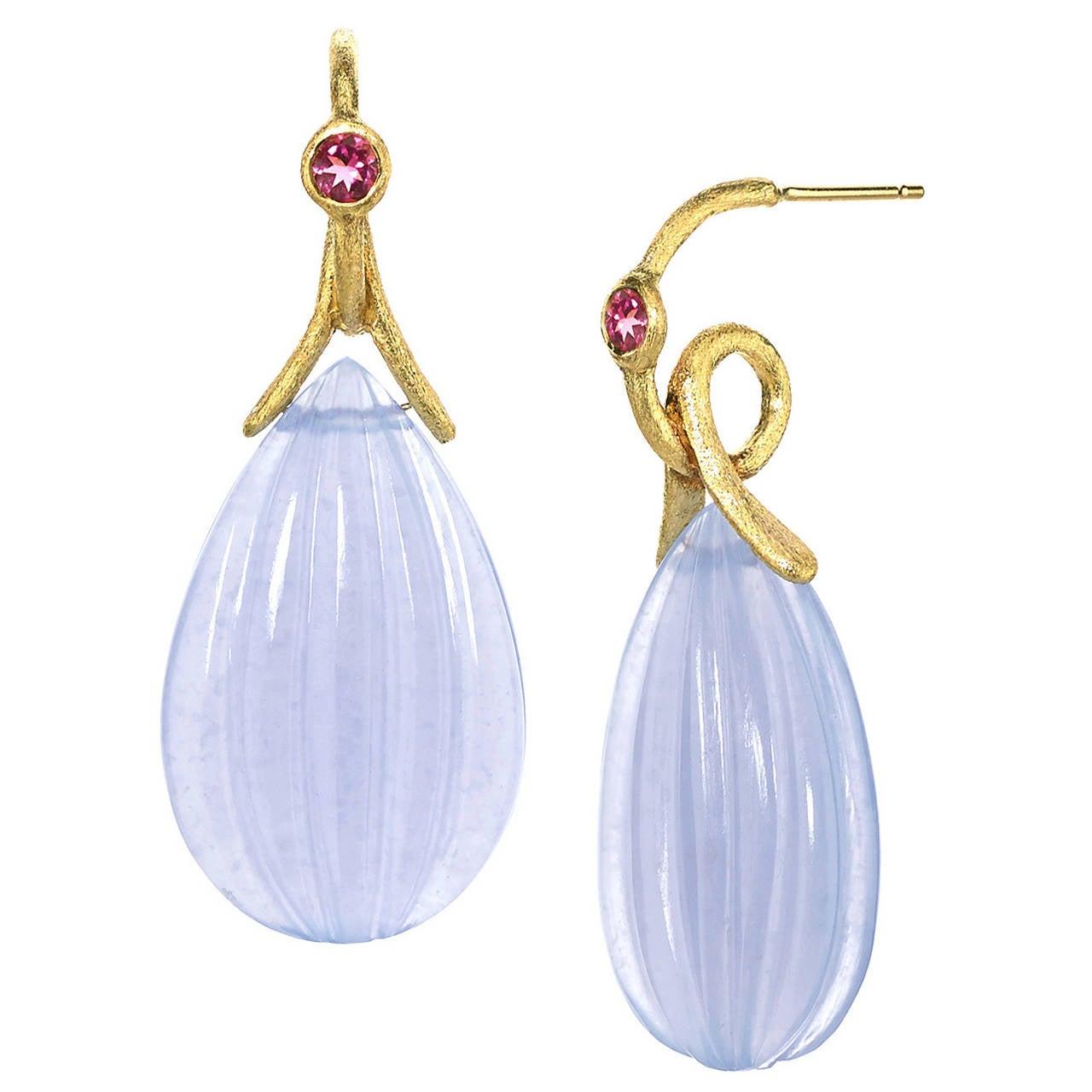 Joseph Murray Pink Tourmaline Dangling Chalcedony Satin Gold Loop Drop Earrings For Sale