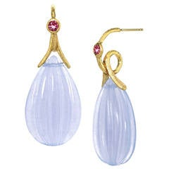 Joseph Murray One-of-a-Kind Carved Chalcedony Pink Tourmaline Gold Loop Earrings