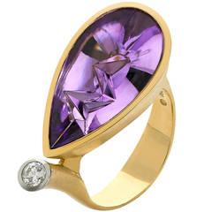 Atelier Munsteiner Purple Amethyst Diamond Gold Platinum German Ring