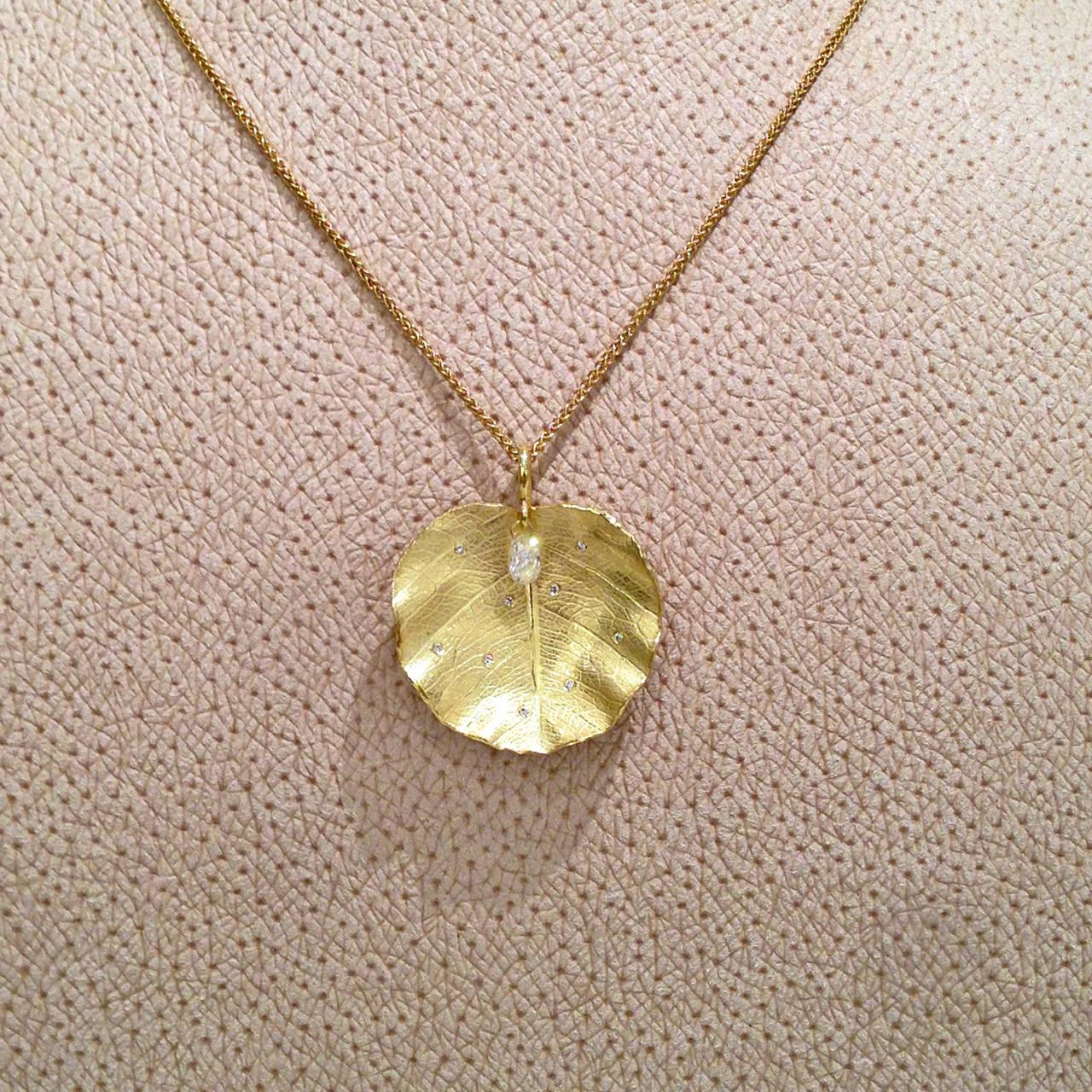 Artist Barbara Heinrich Dangling White Diamond Briolette Lotus Leaf Drop Necklace For Sale