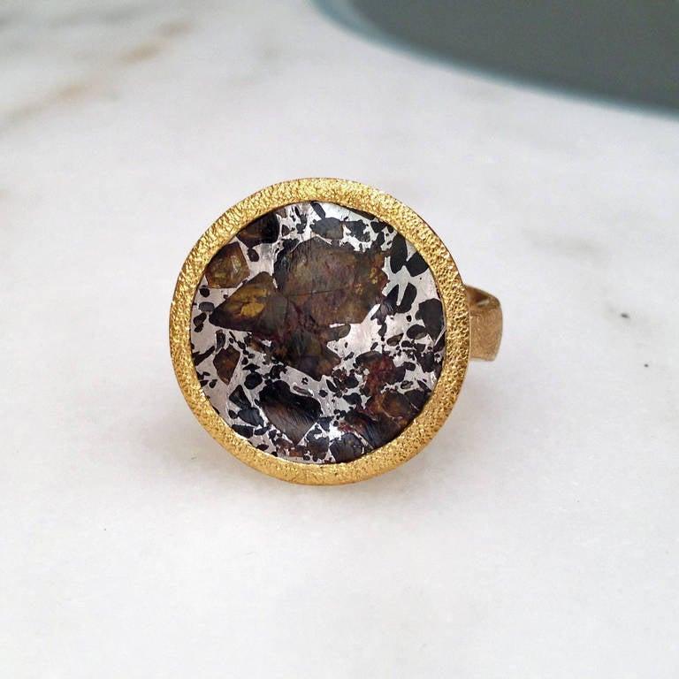 reflective meteorite gold ring at 1stdibs