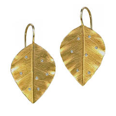 Diamond Gold Leaf Earrings